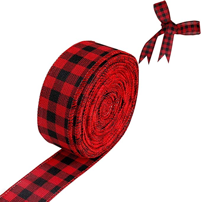 1.5\u201d x 10 yard wired Christmas red white and green striped on royal burlap ribbon RG016016T
