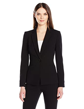 637f5af1737d Tahari by Arthur S. Levine Women's One Button Bi-Stretch Jacket Notch  Collar, Black, 14 at Amazon Women's Clothing store: