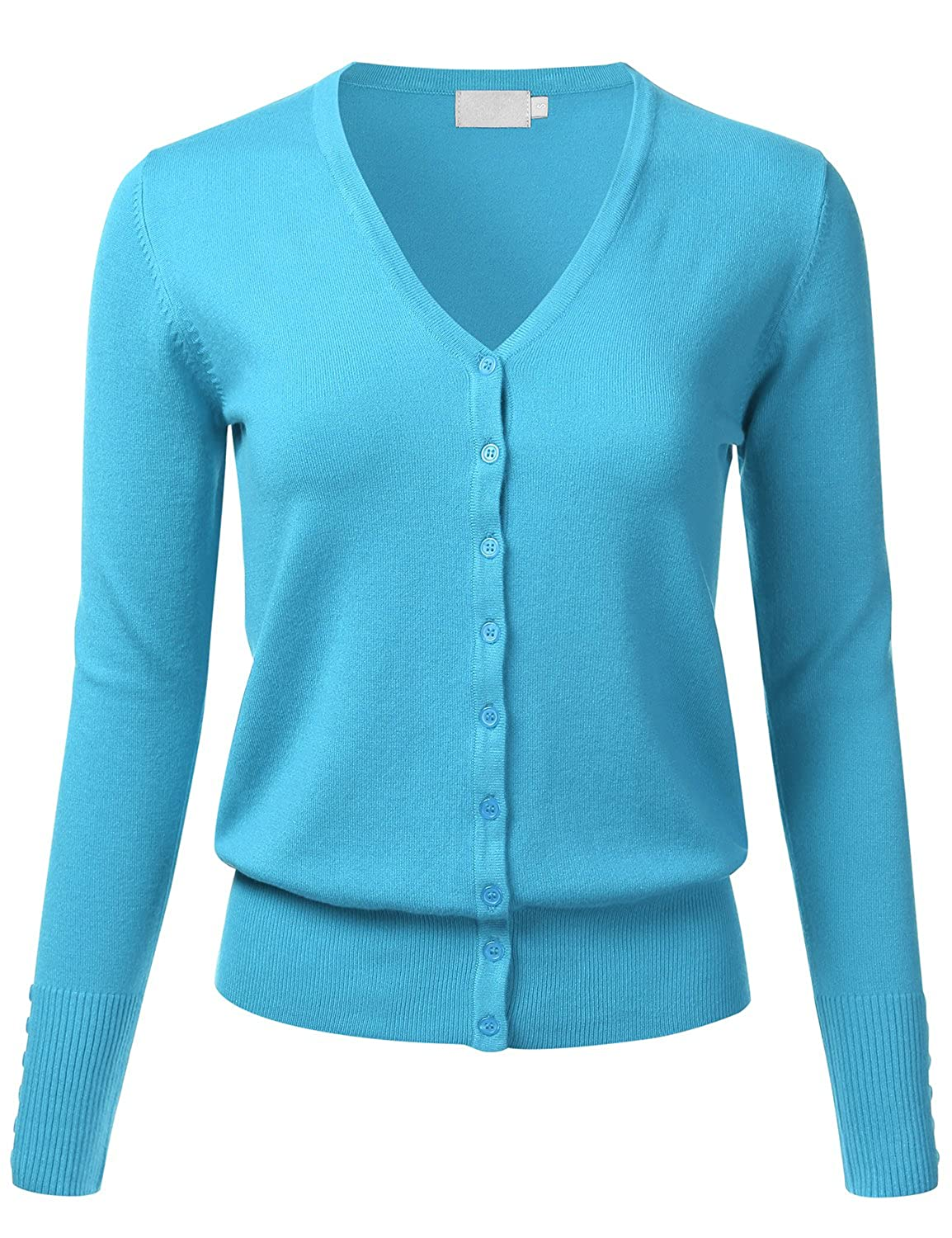 Domic Women Button Down Cardigan V Neck Long Sleeve Soft Knit ...