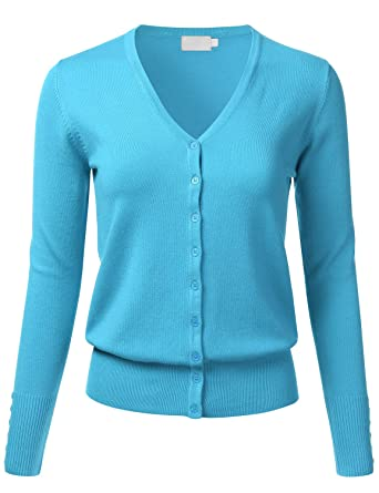 FLORIA Women Button Down V-Neck Long Sleeve Soft Knit Cardigan ...