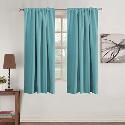 Turquoize Color Aqua Curtains Thermal Insulated Blackout Curtain Drapes Back Tab/Rod Pocket Window Treatment