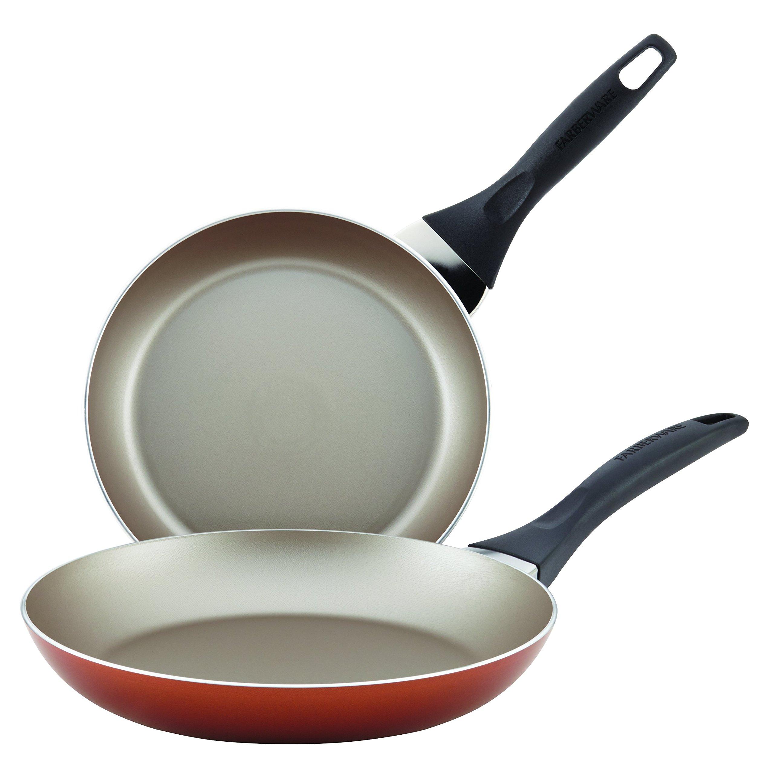 Farberware Dishwasher Safe Nonstick Twin Pack Skillet Set, 8''/10'', Copper
