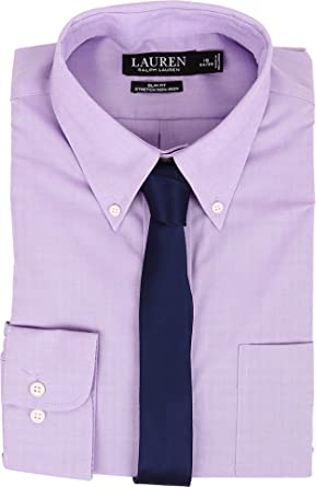 45d82622d43 LAUREN Ralph Lauren Men s Slim Fit Stretch Non Iron Pinpoint Button Down Dress  Shirt Lavender Shirt
