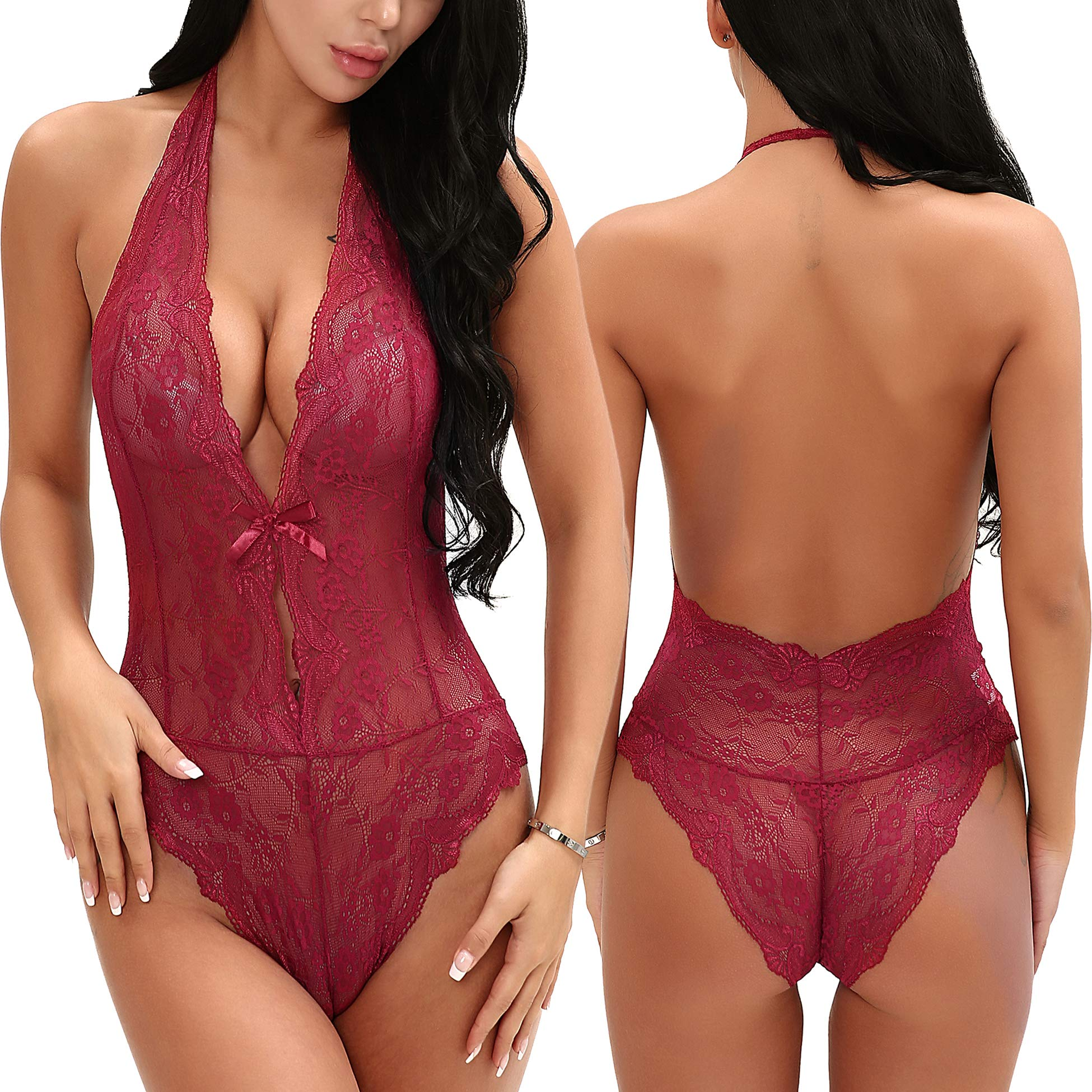 ALLUROMAN Women Sexy Lingerie One Piece Teddy Halter Bodysuit Lace Babydoll Wine Red M