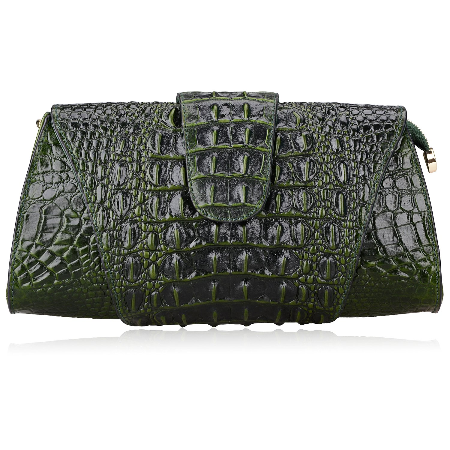 Pijushi Croco Embossed Leather Clutch Bag Cross Body Handbag 8062 (One Size, Green)