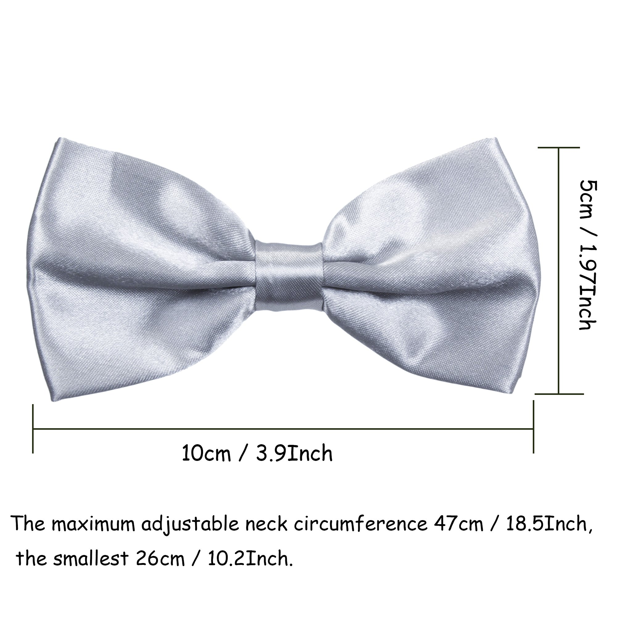 Boys Children Formal Bow Ties - 6 Pack of Solid Color Adjustable Pre Tied Bowties(Silver) by Kajeer (Image #4)