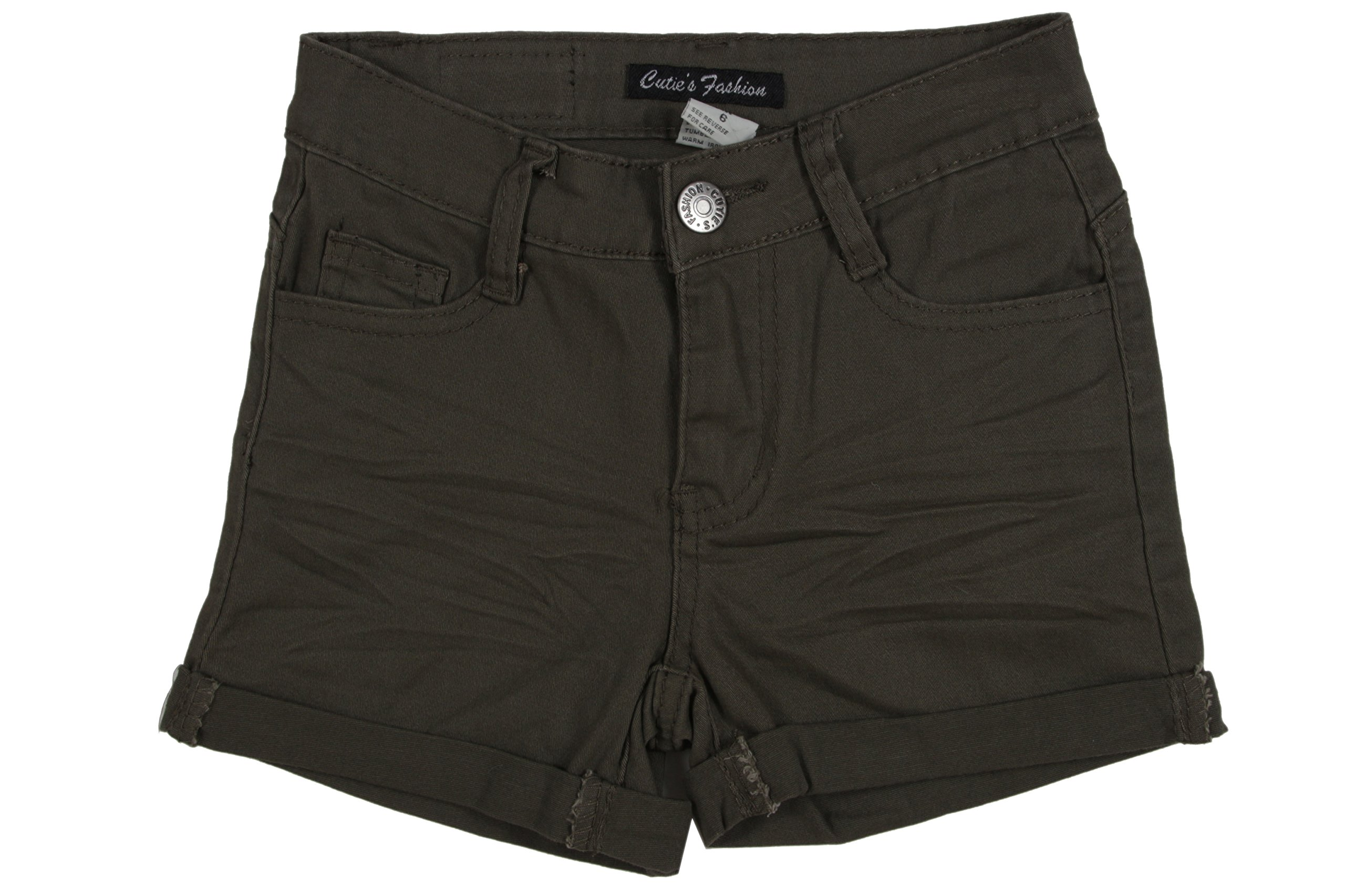 Fashion2Love JGSH193 - Girls' Stretch 5 Pockets Basic Colored Roll-up Jeans Shorts in Army Green Size 12