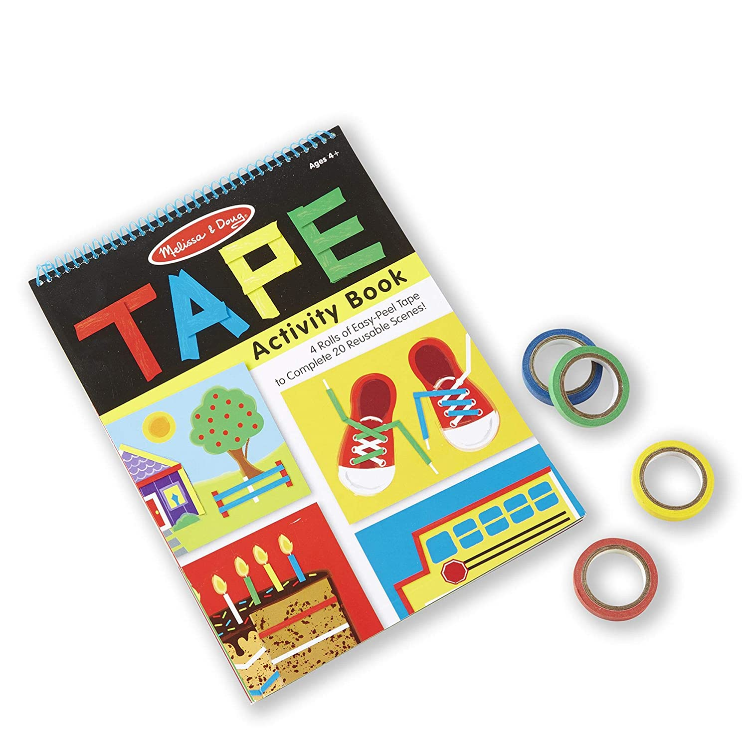 Melissa & Doug Tape Activity Book (Early Learning Skill Builder, 4 Rolls of Easy-Tear Tape, Sturdy Plastic Binding, 20 Pages, Great Gift for Girls and Boys - Best for 4, 5, 6, and 7 Year Olds)