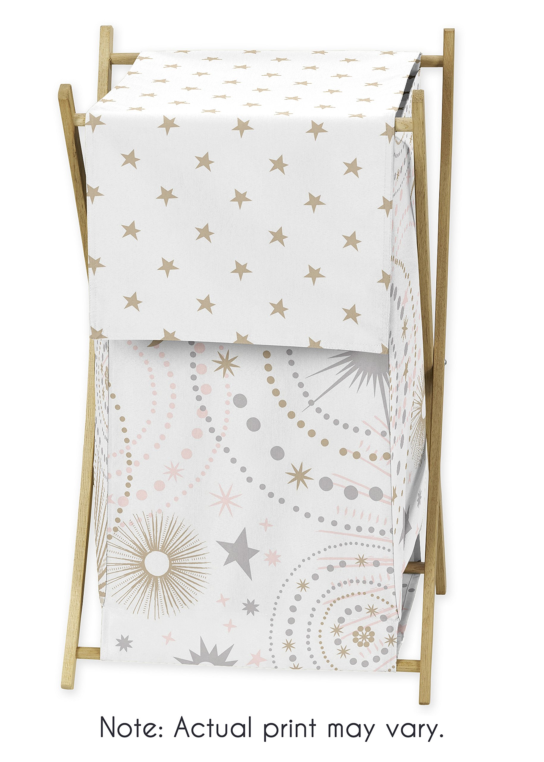 Sweet JoJo Designs Blush Pink, Gold, Grey and White Star and Moon Baby Kid Clothes Laundry Hamper for Celestial Collection by