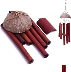 Layssa Bamboo & Coconut Wind Chimes Outdoor/Indoor(30 Inch) Wood Wind Chime for Garden, Patio, Home or Outdoor Decor,Natural Beautiful Sound