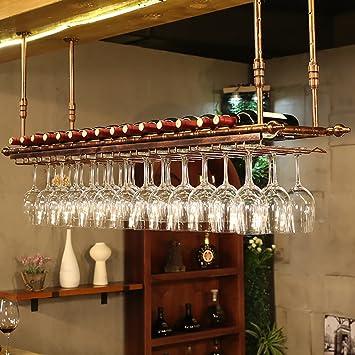 JHGJBJ Wine Cup Holder Suspension Decoración Retro Wine Racks Bar Portavasos Wine Cup Holder Marco de cáliz (Color : A, Tamaño : 120 * 30cm): Amazon.es: ...