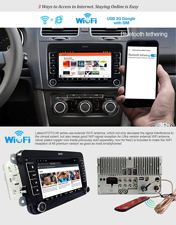 ATOTO A6 Android Car Navigation Stereo w/ 2xBluetooth - for Select  Volkswagen/VW - Premium A6YVW710PB 1G/16G Auto Entertainment Multimedia