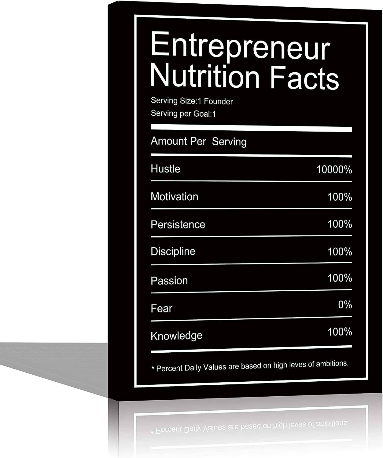 Entrepreneur Nutrition Facts Motivational Canvas Wall Art Inspirational Office Wall Art Poster Quotes Framed Prints Ready to Hang