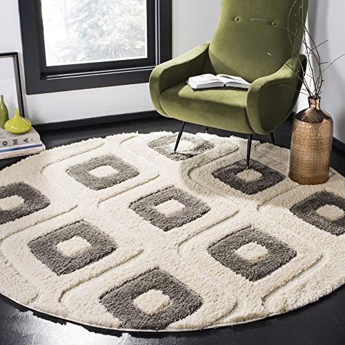 Safavieh Olympia Shag Collection OSG325A Cream and Grey Round Area Rug 6'7″