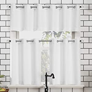 "No. 918 Dylan Casual Textured Semi-Sheer Grommet Kitchen Curtain Valance and Tiers Set, 54"" x 36"" 3-Piece, White"