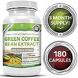 Super Premium 100% Organic Green Coffee Bean Extract Weight Loss Formula - 50% Chlorogenic Acid - Superior Strength - 180 Capsules