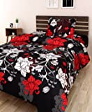 AEROHAVEN 180 TC Microfibre Single 3D Luxury Bedsheet with 1 Pillow Cover (Floral, Black)