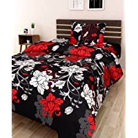 AEROHAVEN 180 TC Microfibre Single 3D Luxury Bedsheet with 1 Pillow Cover - Floral, Black - (Single Bed(60 x 90 inch))