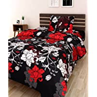 Amayra Home 120 TC Microfibre Single 3D Luxury Bedsheet with 1 Pillow Cover - Floral, Black