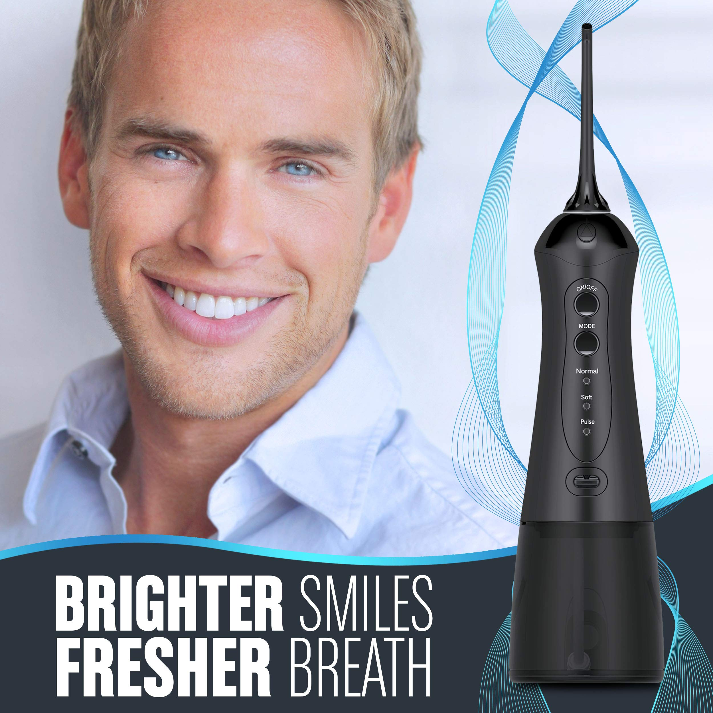 Cordless Water Flosser for Teeth - Smile Brighter with a Portable Waterflosser - Rechargeable Water Flosser/Oral Irrigator with 2 Heads, Travel Case and USB Charger by IDLTD (Image #4)