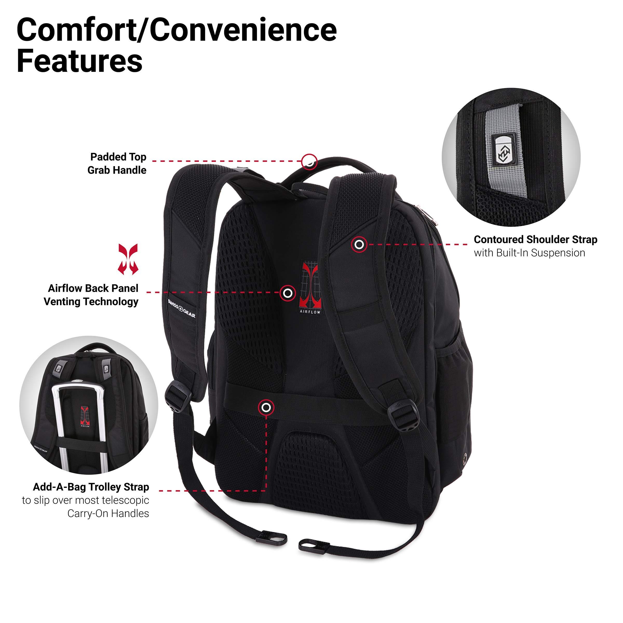 SWISSGEAR Large ScanSmart 15-inch Laptop Backpack   TSA-Friendly Carry-on   Travel, Work, School   Men's and Women's - Black by SwissGear (Image #2)