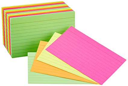AmazonBasics Ruled Index Cards Assorted Neon 3x5 Inch