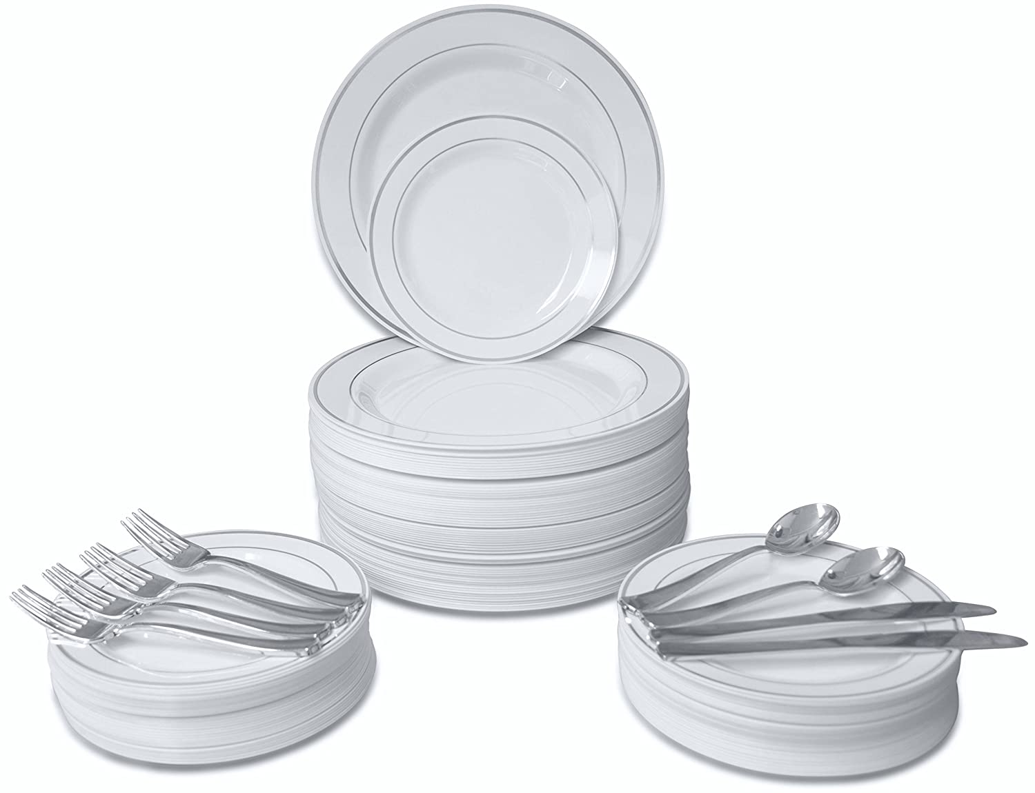 Amazon.com 360 PIECE / 60 guest \ OCCASIONS\  Wedding Disposable Plastic Plate and Silverware Combo (White/Silver rim plates) Kitchen \u0026 Dining  sc 1 st  Amazon.com & Amazon.com: 360 PIECE / 60 guest \