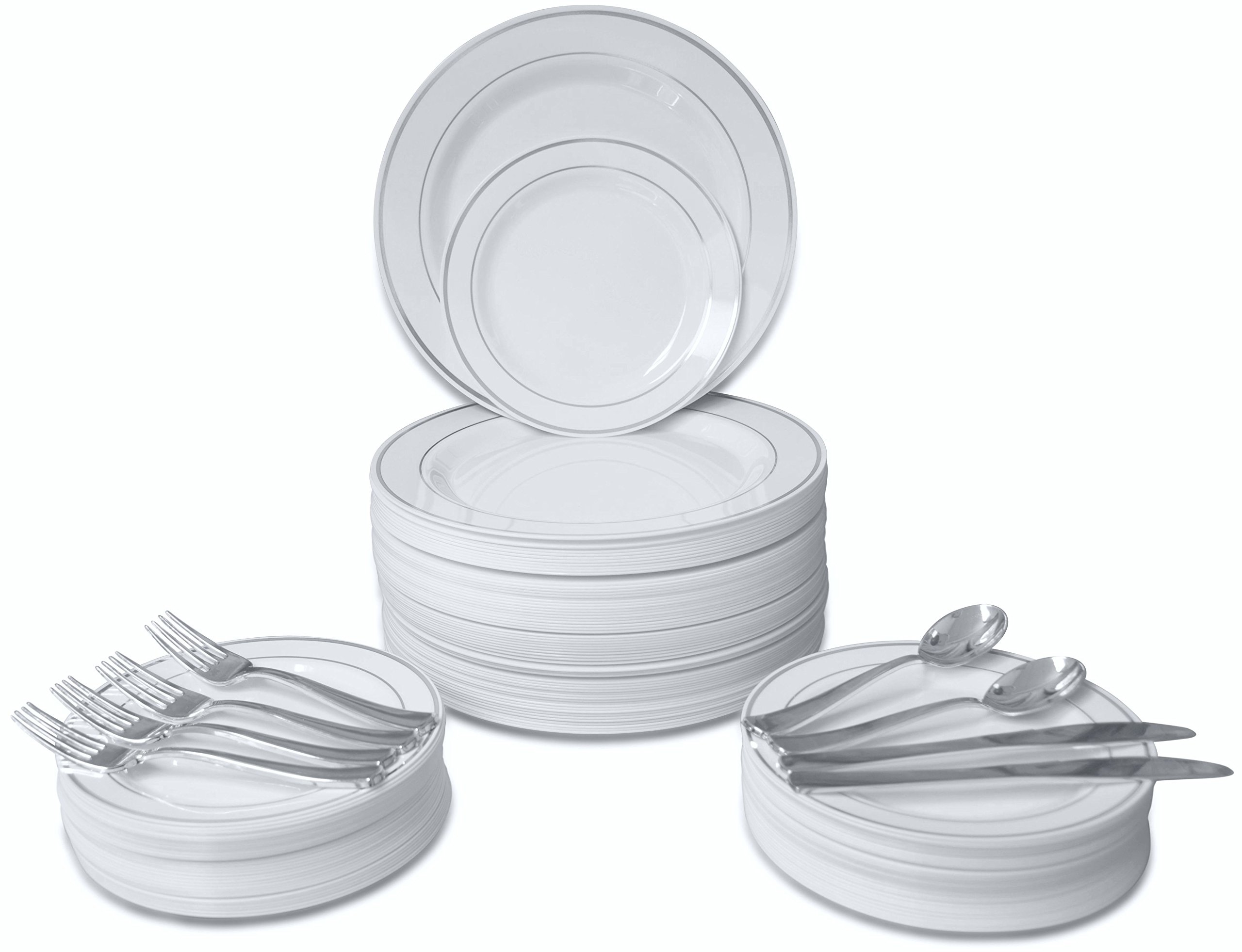 360 PIECE / 60 guest ''OCCASIONS'' Wedding Disposable Plastic Plate and Silverware Combo (White/Silver rim plates) by OCCASIONS FINEST PLASTIC TABLEWARE