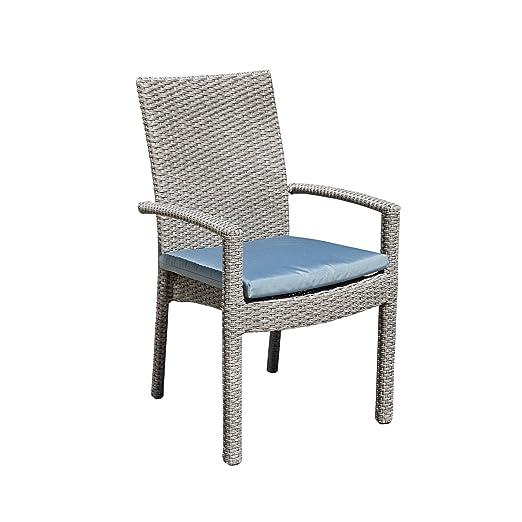 Silla apilable silla de jardín plano Wicker Terraza silla ...