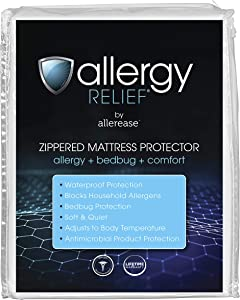 Allergy Relief by AllerEase Zippered Mattress Protector, Queen Size - Waterproof, Hypoallergenic Mattress Cover, Protects Against Household Allergens & Bed Bugs, Machine Washable