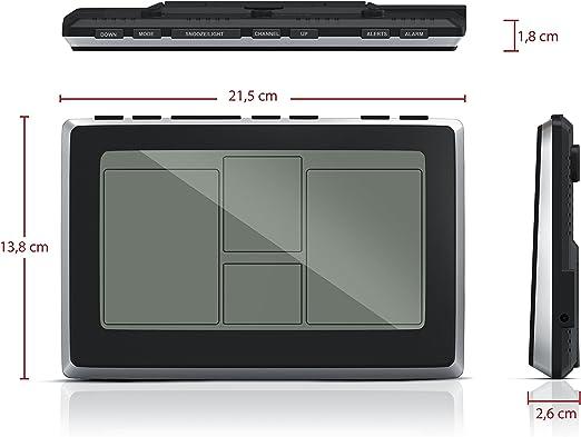 bearware – Estación meteorológica sin hilos con sensor externo   pantalla LCD de 7,5   despertador/radio controlada DCF   Vista Data   función despertador   Temperatura Interna Y Externa   Vista Temperatura  
