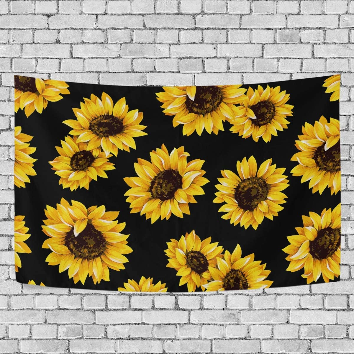 LittleLuck Wall Tapestry Decor Yellow Blooming Sunflowers Black Modern Wall Hanging Artwork Polyester Fabric Cottage Dorm Bedroom Living Room Wall Art Wall Blanket Home Decoration 90 X60