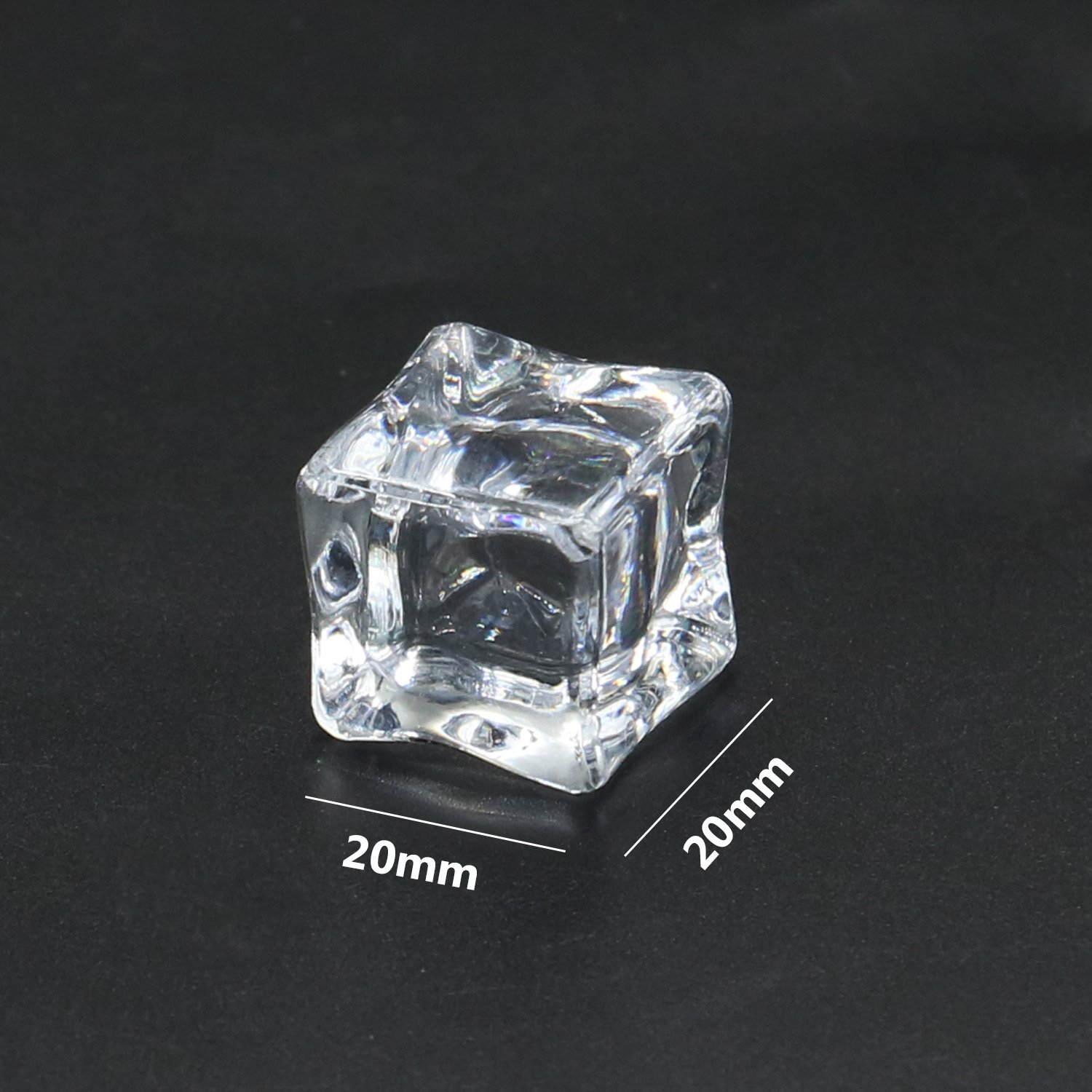 HUELE 20 Pcs Clear Square Acrylic Ice Cubes Fake Ice Cubes for Photography Props or Decorations 0.8