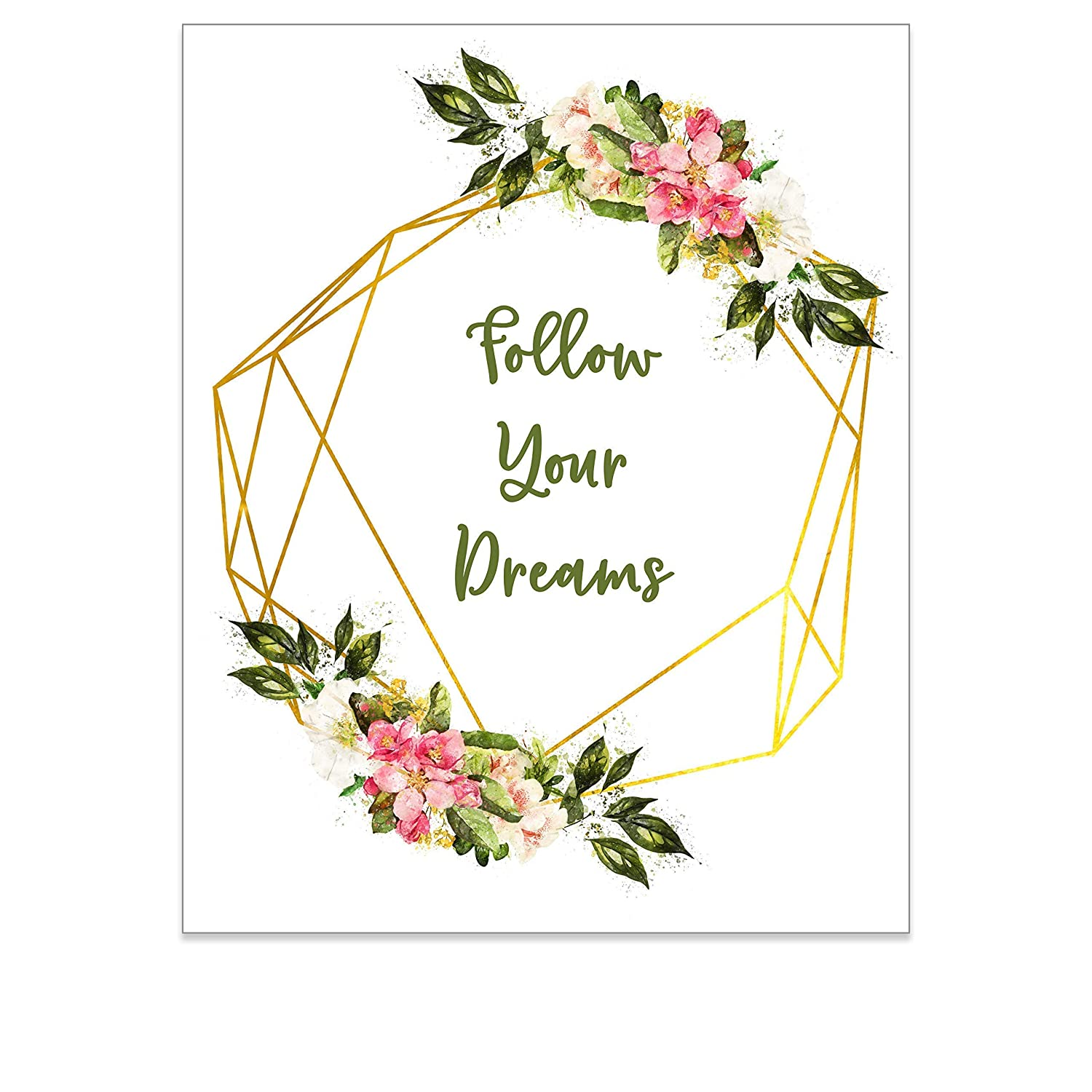 Amazon Com Inspirational Quotes Wall Art For Women Strong Girls Floral Wreath Boho Print Positive Affirmation Wall Decor For Teens Shabby Chic Bedroom Artwork For Her Follow Your Dreams
