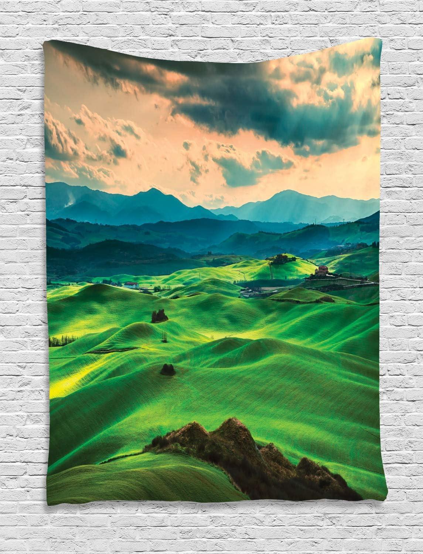 ABAKUHAUS Primavera Tapiz de Pared, Toscana Rolling Hills, para el Dormitorio Apto Lavadora y Secadora Estampado Digital, 100 x 150 cm, Espuma de mar Verde