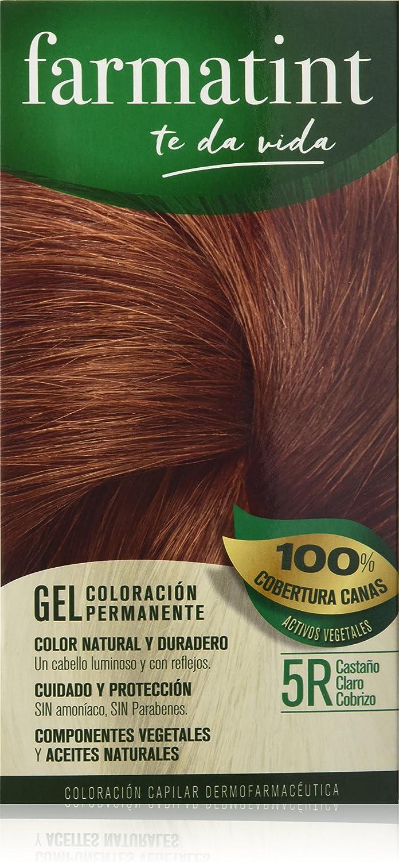 Farmatint 5R Castaño Claro Cobrizo. Tinte permanente. Cabello natural y color duradero. Sin amoníaco ni parabenes ni parafinas ni siliconas.