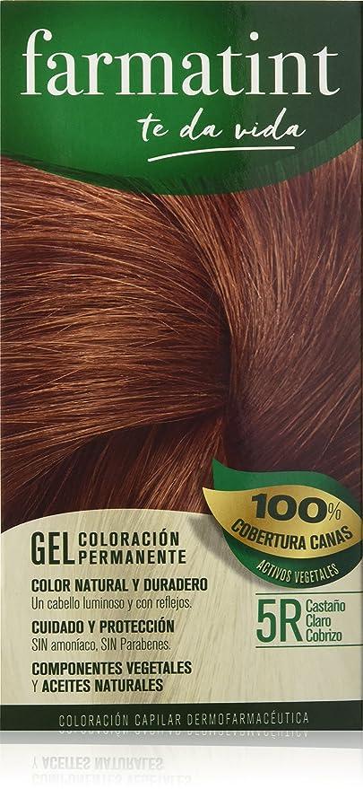 Farmatint 5R Castaño Claro Cobrizo. Tinte permanente. Cabello natural y color duradero. Sin