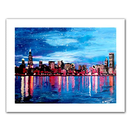 ArtWall Chicago Skyline at Dusk Unwrapped Canvas Artwork by Martina Bleichner, 28 by 36-Inch