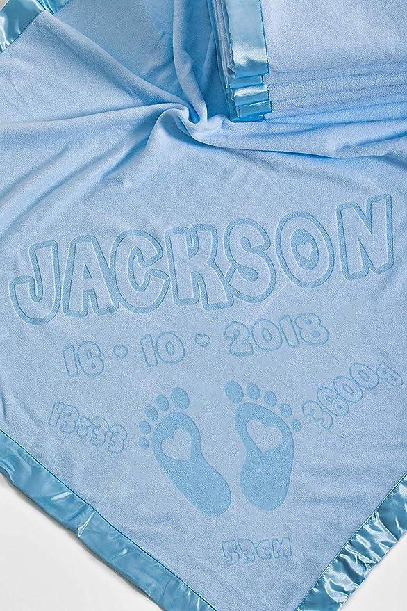 Manta De Bebé Personalizada Para La Cuna Con Detalles De Nacimiento, Regalo Para El Bebé O Los Padres, Tamaño 88x88cm (Pies/Azul)