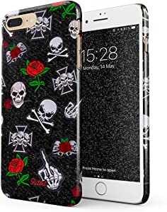 Glitbit Compatible with iPhone 7 Plus / 8 Plus Case Embroidered Red Rose Skulls Rockstar Skeleton Biker Gangsta Girl Gangster Bitch Badass Thin Design Durable Hard Shell Plastic Protective Case Cover