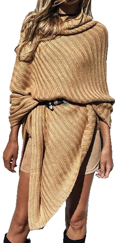YUNY Women Fashion Chic Turtleneck Knit Poncho Pullovers Sweater