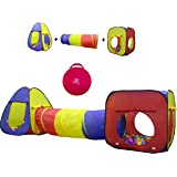 Kiddey 3pc Kids Play Tent Crawl Tunnel and Ball Pit Set – Durable Pop Up Playhouse Tent for Boys, Girls, Babies, Toddlers & P