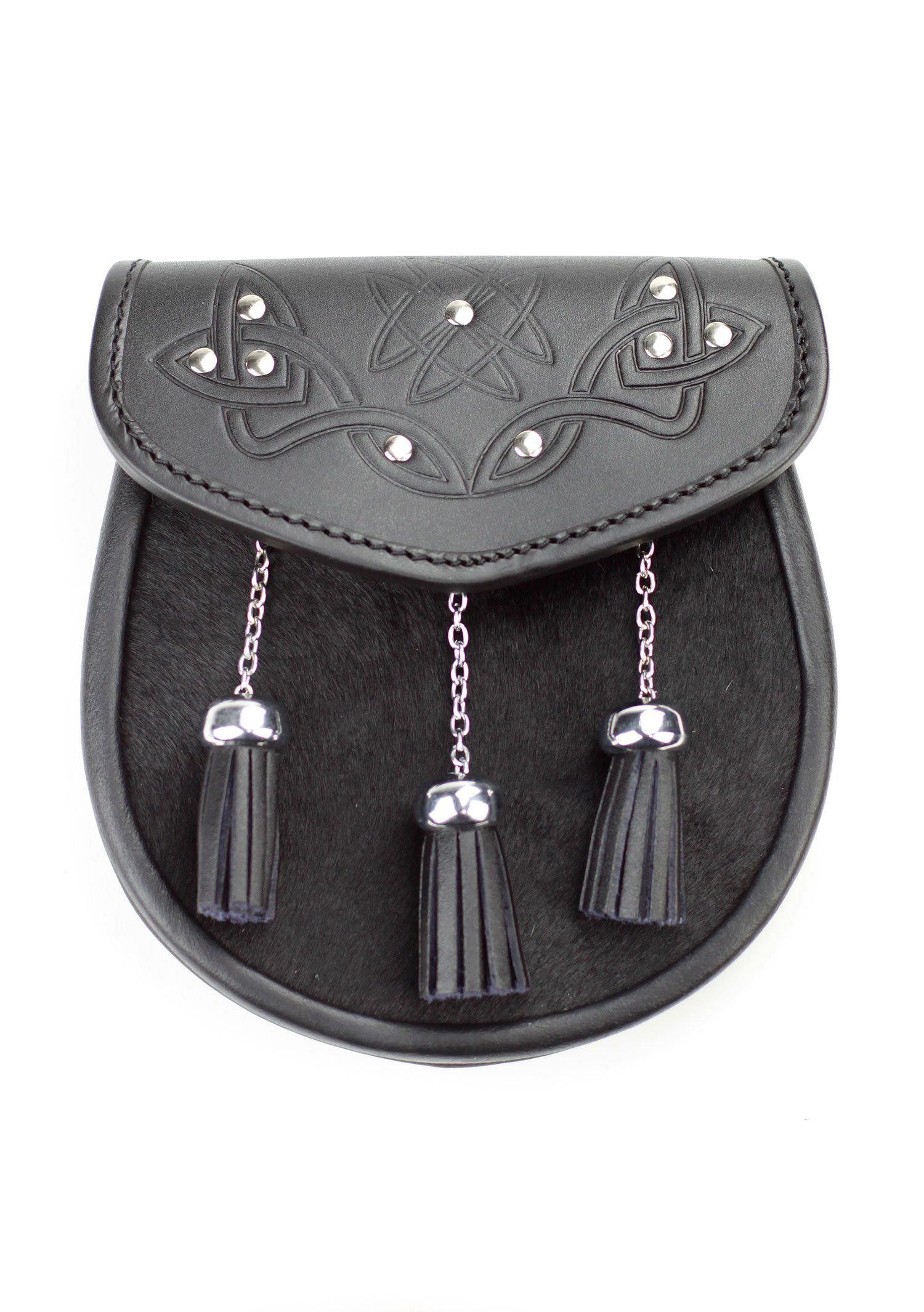 Kilt Society Mens Celtic Studded Black Leather Semi Dress Kilt Sporran