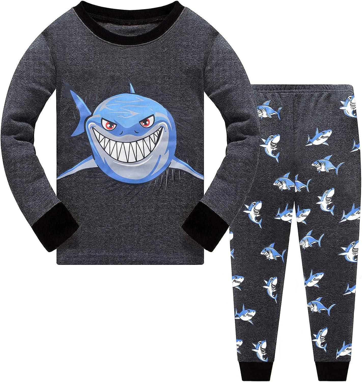 Little Hand Toddler Boys Pajamas Dinosaur 100% Cotton Train Sleepwear Pjs Sets Long Sleeve Excavator Jammies