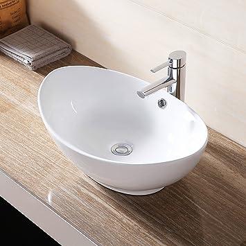 Small Oval White Bathroom Vanity Bowl Modern Ceramic Vessel Sink