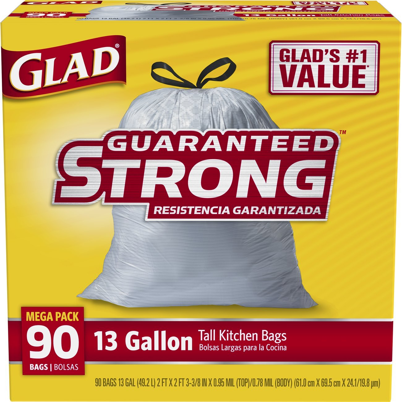 Glad Tall Kitchen Drawstring Trash Bag - 13 Gallon - 90 Count