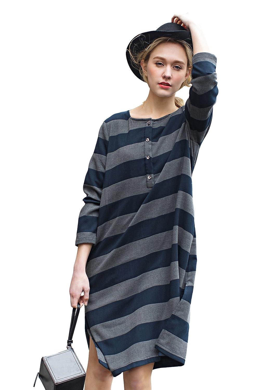 Frauen Casual Kleid Langarm Gestreift Navy Blau Midi Kleid Von You.U