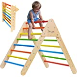 Climbing Triangle - Wooden Climbing Toys for Toddlers & Baby - X-Large Foldable Colorful Climber Indoor Gym for Kids - 100% S