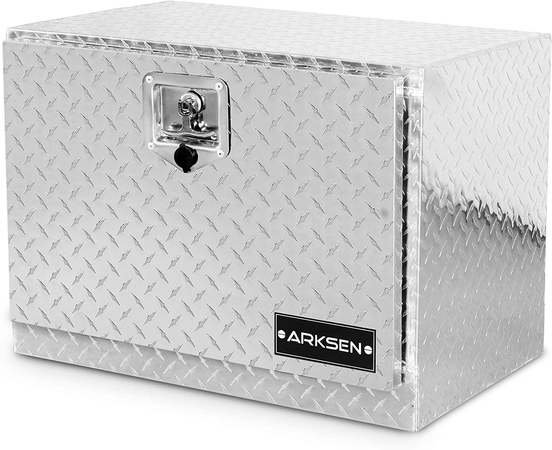 Black ARKSEN 48 Heavy Duty Aluminum Diamond Plate Tool Box With T-Handle Latch Pickup Truck Underbody Trailer Storage