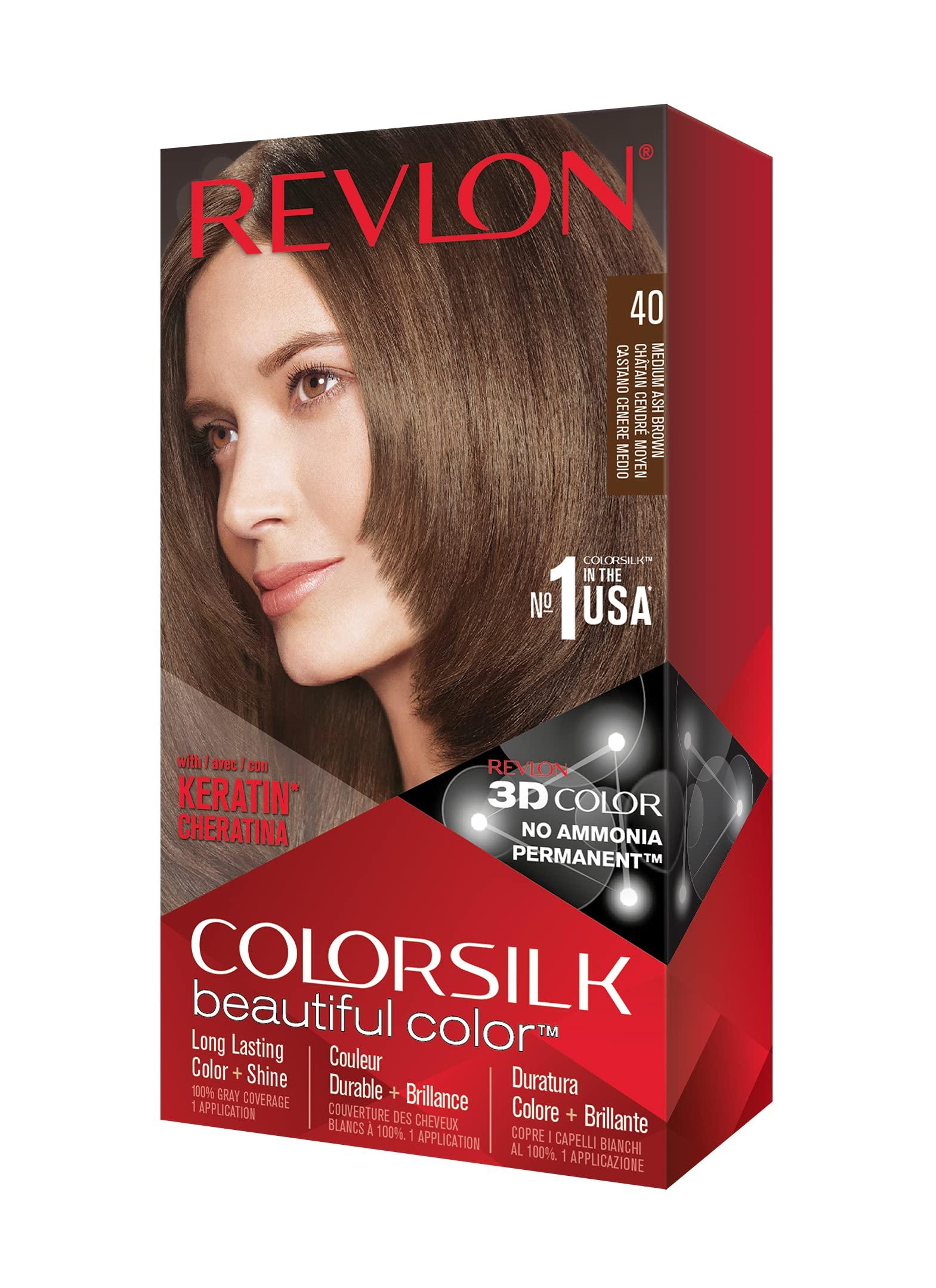 Revlon Colorsilk Beautiful Color Permanent Hair Color with 3D Gel Technology & Keratin, 100% Gray Coverage Hair Dye, 40 Medium Ash Brown